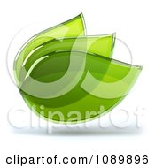 Clipart 3d Transparent Glass Green Leaves 1 Royalty Free CGI Illustration by Julos