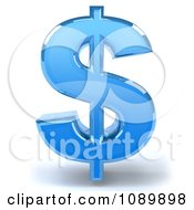 Clipart 3d Blue Glass Dollar Symbol Icon Royalty Free CGI Illustration