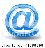 3d Blue Glass Arobase Email Symbol Icon