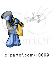 Musical Blue Man Playing Jazz With A Saxophone Clipart Illustration