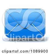 3d Blue Glass Envelope Symbol Icon 1