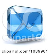 3d Blue Glass Envelope Symbol Icon 2