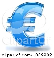 Clipart 3d Blue Glass Euro Symbol Icon Royalty Free CGI Illustration