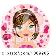 Caucasian Woman Wearing Pink Headphones
