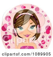 Clipart Caucasian Woman Wearing Pink Headphones Royalty Free Vector Illustration