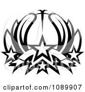 Clipart Black And White Basketball Lotus With Stars Royalty Free Vector Illustration by Chromaco