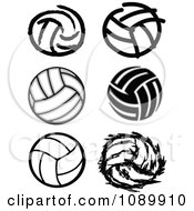 Clipart Black And White Volleyball Icons Royalty Free Vector Illustration by Chromaco