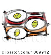 Clipart Tennis Balls And Rackets Royalty Free Vector Illustration by Chromaco