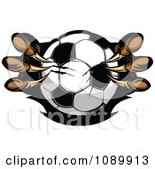Clipart Eagle Talons Shredding A Soccer Ball Royalty Free Vector Illustration
