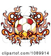 Clipart Fiery Soccer Ball Royalty Free Vector Illustration by Chromaco