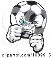 Clipart Tough Soccer Ball With Fists Royalty Free Vector Illustration by Chromaco