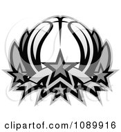 Clipart Grayscale Basketball Lotus Royalty Free Vector Illustration by Chromaco