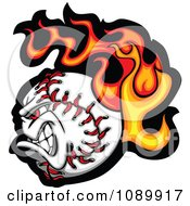 Clipart Tough Flaming Baseball Character Royalty Free Vector Illustration by Chromaco