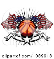 Clipart Basketball With American Flags Stars And A Banner Royalty Free Vector Illustration by Chromaco