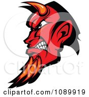 Clipart Red Devil Profile With Horns And A Goatee Royalty Free Vector Illustration by Chromaco