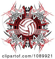 Clipart Volleyball Over Tribal Designs Royalty Free Vector Illustration