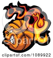 Clipart Tough Flaming Basketball Character Royalty Free Vector Illustration by Chromaco