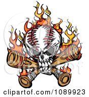 Flaming Baseball Skull Biting Bats