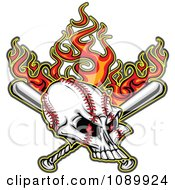 Clipart Flaming Evil Baseball Skull With Bats Royalty Free Vector Illustration