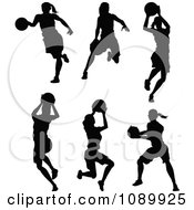 Black And White Female Basketball Player Silhouettes