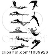 Black And White Male Swimmer Silhouettes