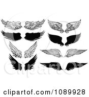 Clipart Black And White Feathered Wings Royalty Free Vector Illustration by Chromaco