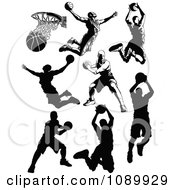 Black And White Male Basketball Player Silhouettes
