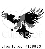 Clipart Black And White Fierce Eagle With Razor Feathers Royalty Free Vector Illustration