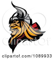 Clipart Profiled Blond Viking Mascot Royalty Free Vector Illustration