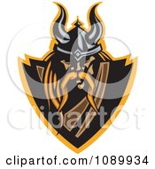 Clipart Blond Viking Warrior Shield Royalty Free Vector Illustration