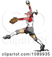 Clipart Female Softball Baseball Pitcher Royalty Free Vector Illustration