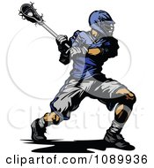 Clipart Lacrosse Player Swinging A Stick Royalty Free Vector Illustration by Chromaco