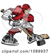 Clipart Male Hockey Player With A Puck And Stick Royalty Free Vector Illustration by Chromaco