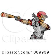 Clipart Baseball Player Swinging A Wooden Bat Royalty Free Vector Illustration
