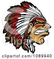 Clipart Tough Native American Chief And Feathered Headdress Royalty Free Vector Illustration