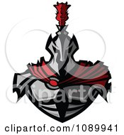 Clipart Warrior In Metal Armor And A Red Cape Royalty Free Vector Illustration