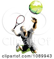 Tennis Player Tossing A Ball Up And Serving