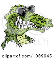 Clipart Grinning Alligator Wearing Sunglasses Royalty Free Vector Illustration by Chromaco