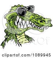 Grinning Alligator Wearing Sunglasses