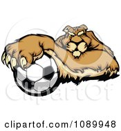 Clipart Puma Mascot Resting With One Paw On A Soccer Ball Royalty Free Vector Illustration