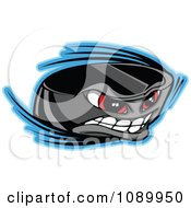 Clipart Flying Hockey Puck Character Royalty Free Vector Illustration