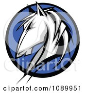 Clipart White Horse Profile Over A Blue Circle Royalty Free Vector Illustration
