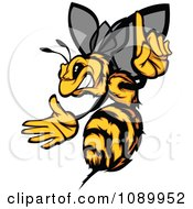 Clipart Stinging Bee Holding A Finger Up Royalty Free Vector Illustration