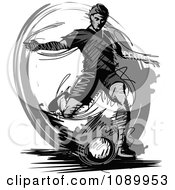 Clipart Grayscale Sketched Soccer Player Royalty Free Vector Illustration by Chromaco