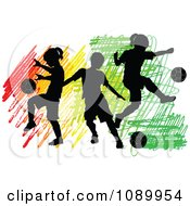 Clipart Three Silhouetted Children Playing Soccer Over Colorful Scribbles Royalty Free Vector Illustration