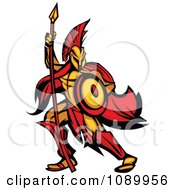 Spartan Warrior Armed With A Spear And Shield