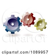 3d Blue Red And Yellow Gear Cogs