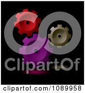 Clipart 3d Red Purple And Brown Gears On Black Royalty Free Vector Illustration by michaeltravers