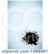 Clipart Black Ink Splat Over Blue Grunge Royalty Free Vector Illustration