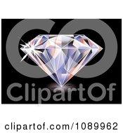 Clipart 3d Brilliant Diamond On Black Royalty Free Vector Illustration by michaeltravers